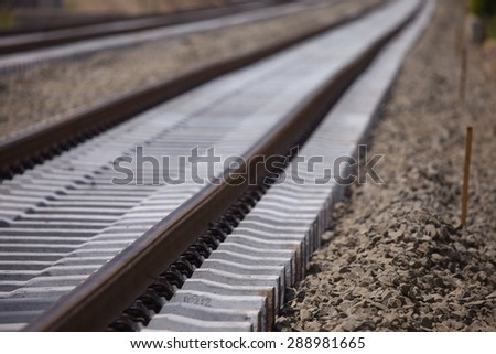 A pair of railway tracks under construction