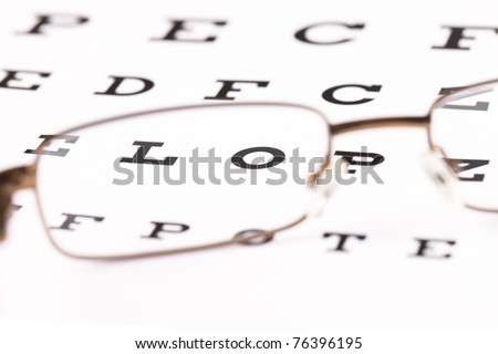 a pair of reading glasses sitting on a eye test chart with only two letters in focus - stock photo