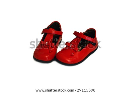 a pair of red baby shoes - stock photo