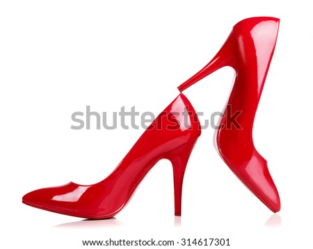 A pair of red high heels isolated on white. with Clipping path.  - stock photo