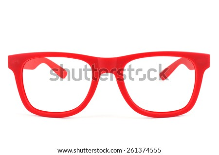 a pair of red plastic-rimmed eyeglasses on a white background - stock photo