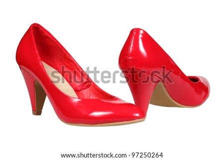 A pair of red women's heel shoes isolated over white with clipping path. - stock photo