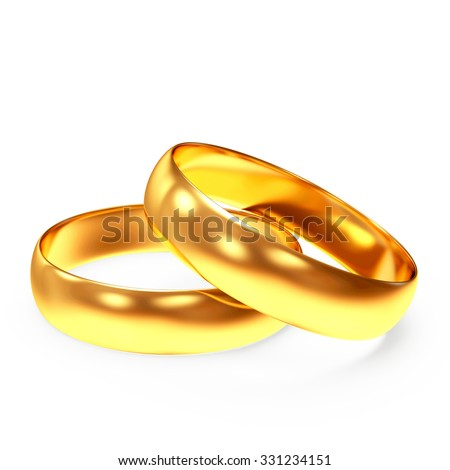 A pair of shiny golden wedding rings isolated on white background