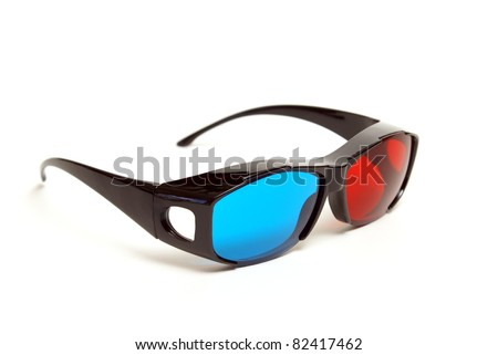 A pair of sleek 3D glasses isolated on white.