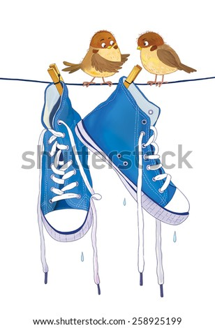 A pair of sneakers hanging on the rope outside on a spring day and two cute sparrows. A pair of shoes and two birds. Laundry. White background - stock photo