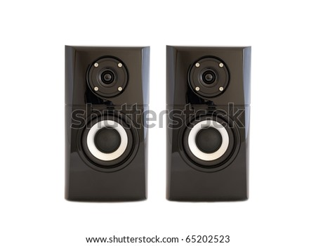 A pair of speakers on a white background isolated.