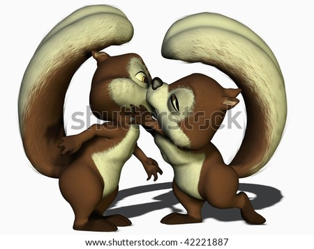 A pair of squirrels are falling in love - stock photo