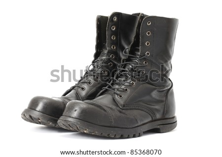 A pair of steelcap leather boots - stock photo