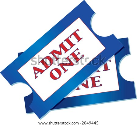 A pair of tickets for admission to an event - stock photo