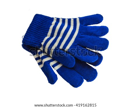 A pair of woolen  blue children winter gloves isolated on white background - stock photo