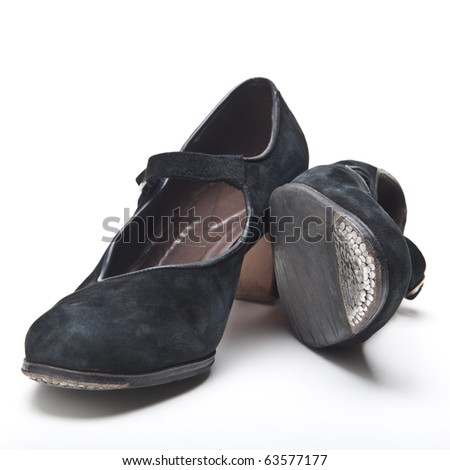 A pair of worn flamenco shoes for a woman - stock photo