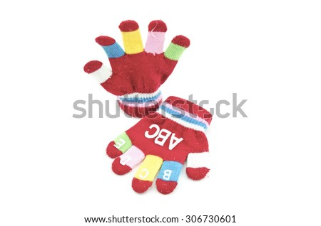 a pair red hand glove with alphabet  up and down position isolated white background - stock photo