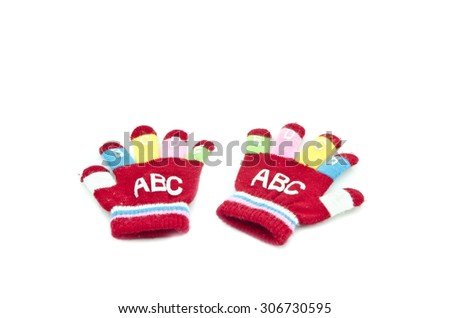 a pair red souvenir children hand glove isolated white background - stock photo