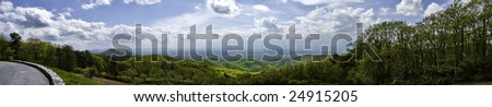 a panorama of a beautiful vista overlooking the Shenandoah valley in Virginia - stock photo