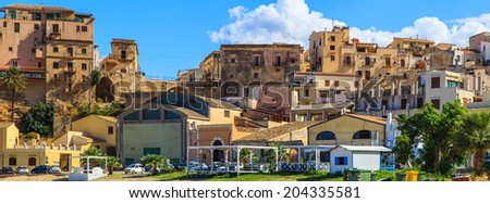 A panorama of a colorful houses in Castellmare del Golfo, Sicily