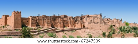 A panorama of a Moroccan kasbah. - stock photo