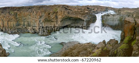A panorama of  'Aldeyjarfoss', a well known waterfall in Iceland with unique rock formation