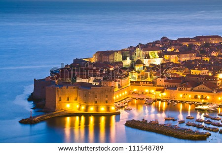 A panorama of Dubrovnik by night, Croatia - stock photo