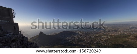 A Panorama of Lion's Head and the City of Cape Town From Table Mountain with the Cable Car Station - stock photo