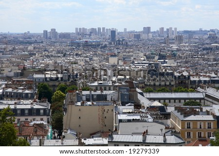 a panorama of Paris from montmartre - stock photo
