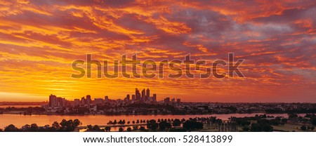 A panorama of Perth skyline at sunset