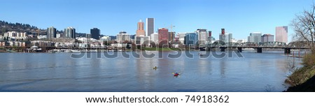 A panorama of Portland Oregon. - stock photo