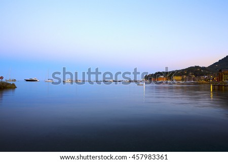 A panorama of Santa Margarita at the dusk in Liguria region, Italy, Europe