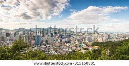 A panorama of Seoul, South Korea capital city, taken from the Namsan mountain in the heart of the city.