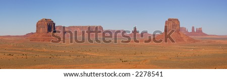 A panorama of the Monument Valley (Navajo Nation) made on fine autumn morning - a classic Southwest view. - stock photo