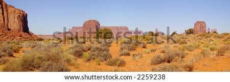 A panorama of the Monument Valley (Navajo Nation) on a fine November morning. - stock photo
