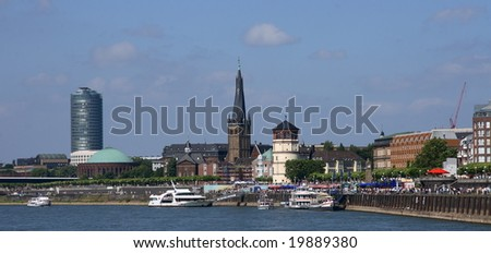 A panorama on the quay of Dusseldorf (Germany) - stock photo