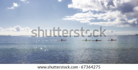 A panorama photo of early morning by the sea - stock photo