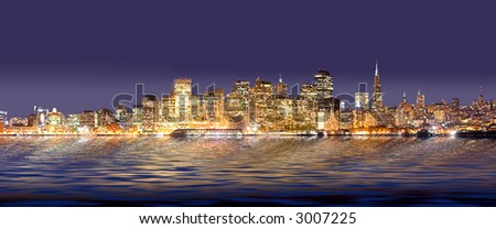 A panorama photo of San Francisco at night time
