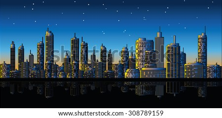 A panorama picture of city skyline - stock photo