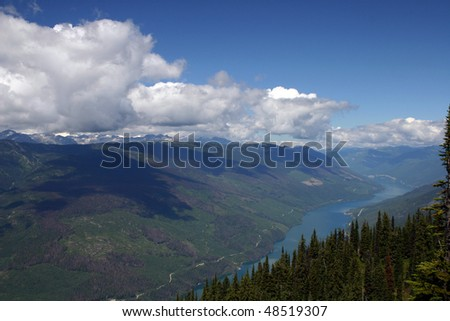 A panorama view from the mountain peak in Revelstoke National Park, Canada.