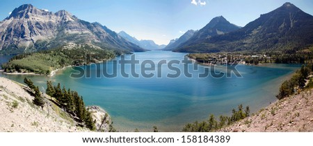 A panorama view in waterton national park - stock photo