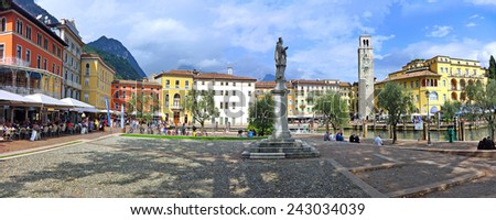 A panorama view of a beautiful summer day in the town center of Riva del Garda, Lake Garda, Italy  - stock photo