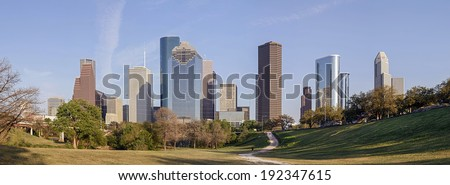 A Panorama View of Downtown Houston, Texas - stock photo