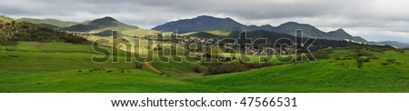 A panorama view of the Santa Monica Mountains. A 12 shots stitched pano. - stock photo