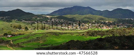 A panorama view of the Santa Monica Mountains. 6 vertical shots stitched pano. - stock photo
