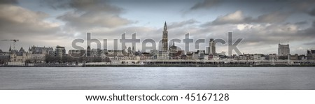 A panorama view of the skyline from the city of Antwerp - stock photo