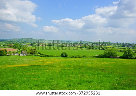 A panorama view of the typical Gloucestershire countryside in summer looking from Hartpury towards the village of Hartpury, and Staunton and Corse, England, United Kingdom - stock photo