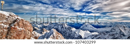 A panoramic HDR composition of the Zugspitze mountain range/Zugspitze Vista/A 63 image photo of the Zugspitze Mountain Range, the tallest point in Germany - stock photo