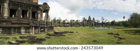 A panoramic image of Angkor Wat temple, viewed from the southern library - stock photo