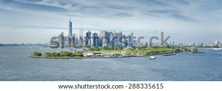 A panoramic image of New York Manhattan - stock photo