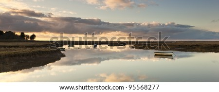 A panoramic image of the Burnham Deepdale marshes - stock photo