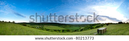 A panoramic of the view from the top of the North Downs in Surrey. - stock photo
