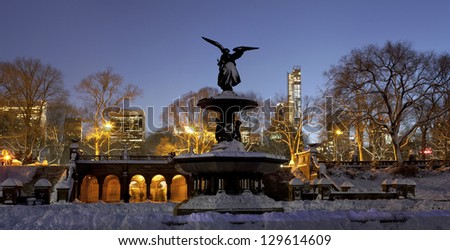 A Panoramic photo of Bethesda fountain located in Central Park New York City. Taken a day after snow storm Nemo fell on NYC. - stock photo