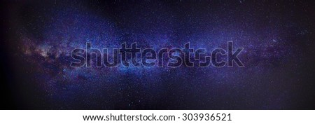 A panoramic shot of the Milky Way as seen from the Northern hemisphere - stock photo