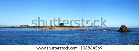 A panoramic view looking across Whakatane Harbour on a beautiful sunny day - stock photo